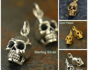 Sterling Silver, Skull Charm, Silver Skull Charm, Skull Jewelry, Halloween Charm, Halloween Jewelry, Spooky Charm, Spooky Jewelry