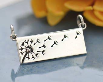 Sterling Silver, Dandelion Pendant, Dandelion Festoon, Dandelion Link, Rectangle Festoon, Silver Dandelion, Silver Festoon,Dandelion Jewelry