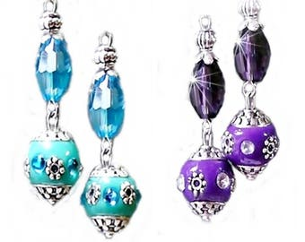 Earrings, Crystal with Indonesian Bead, choose from purple or aqua, clip on or pierced fittings