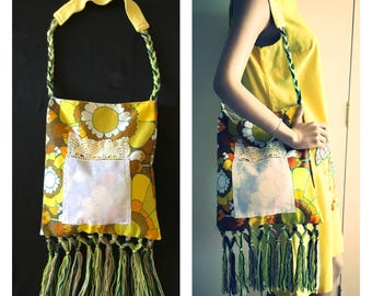 Retro Vintage Yellow 60s Print Hippie Festival Upcycled Bag with Fringing - FREE SHIPPING