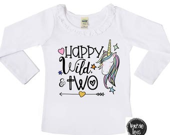 Happy Wild and Two - Unicorn Birthday Shirt - Second Birthday Shirt - Wild and Two - Ruffle Collar or Unisex Tee - 2 Year Old - Unicorn
