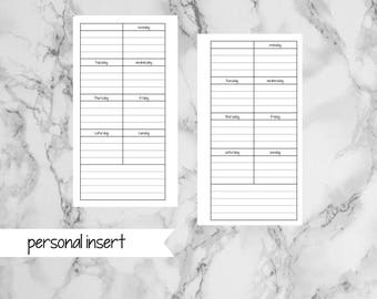 PERSONAL Undated Printable Week on 1 Page - Sunday and Monday Start - p001