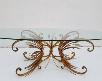 Italian  Hollywood Regency Gilt Metal Sheaf Of Wheat Coffee Table .