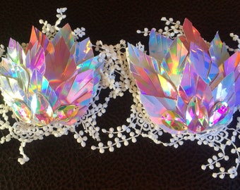 Iridescent fairy armor lace holographic pasties nipple covers