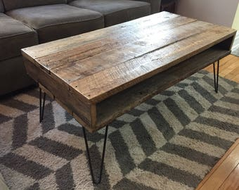 Retro Style Reclaimed Wood Coffee Table on Hairpin Legs