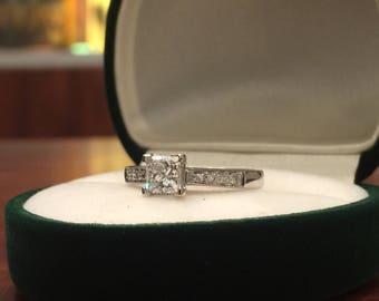 0.72 Princess Cut Diamond Ring in 18K White Gold. G/VS2.
