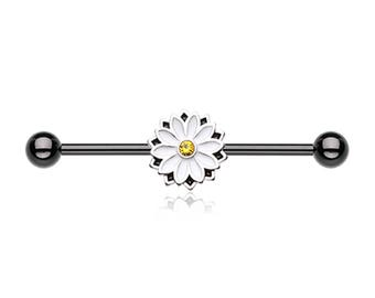 White Enamel Daisy Flower Scaffold/Industrial Piercing Barbell - UK Seller