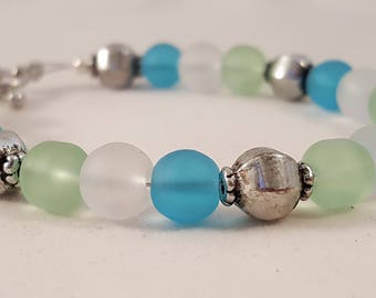 Sea Glass & Silver Beaded Bracelet - Blue Sea Glass - Clear Sea Glass - Green Sea Glass - Sea Glass Bracelet - Sea Glass - Bracelet - Blue