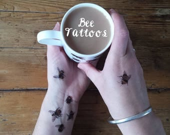 Temporary Tattoos by Alice Draws The Line;adorn yourself in illustration;Bracken tattoo, Flower tattoos,Bee tattoo, Thistle tattoo, Bees