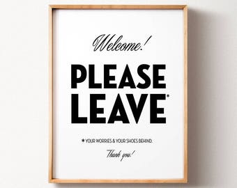 Remove shoes sign, PRINTABLE wall art, Housewarming gift, Home decor, Wall decor, Shoes off sign, Take off your shoes, Funny wall art