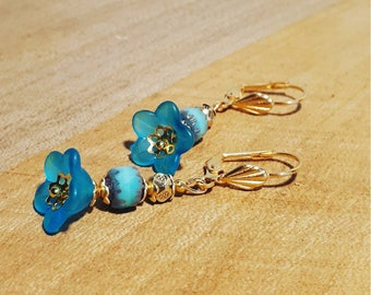 Frosted Flower Earrings Gold and blue.