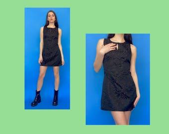 Vintage 90s Y2k 2000s Brown Floral Pattern Key Hole Sleeveless Mini Dress