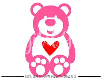 Teddy bear and heart svg / dxf / eps / png files. Digital download. Compatible with Cricut and Silhouette machines. Small commercial use ok.