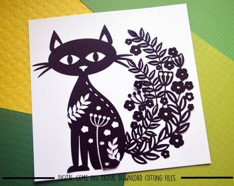 Cat paper cut svg / dxf / eps / files and pdf / png printable templates for hand cutting. Digital download. Commercial use ok.