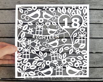 Number 18 paper cut svg / dxf / eps / files and pdf / png printable templates for hand cutting. Digital download. Small commercial use ok.