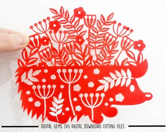 Hedgehog paper cut svg / dxf / eps / files and pdf / png printable templates for hand cutting. Digital download. Commercial use ok.