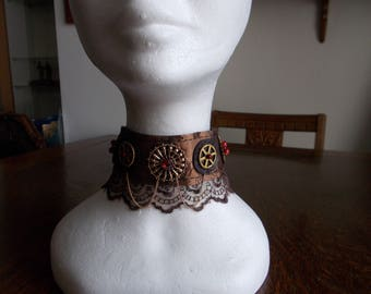 Fabric Choker, Fabric Necklace, Steampunk Fabric Choker, Brown, Gold, Lacy, Cogs, Beaded