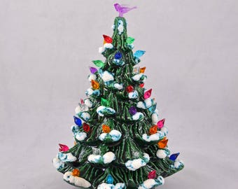 Vintage Ceramic Christmas Tree, Small 9 Inch Ceramic Tree With Frosted Branches And Mini Lights