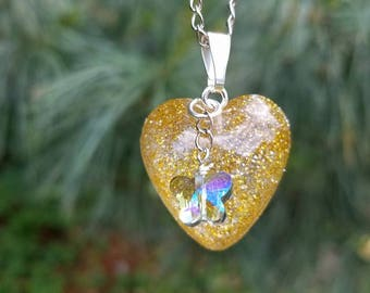 Heart & Butterfly Resin Necklace