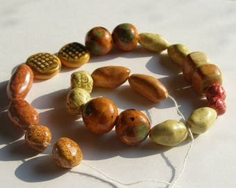 11 PAIRS Assorted Earthtones Beads, pottery handformed chunky primitive ethnic. Smooth & Textured shapes ITPH cube ball potato coin round
