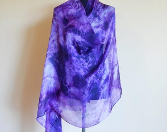 Violet summer silk scarf,  gift for her, long scarf, art scarf, silk sarong, silk painting, handpainted scarf, , 100% Margilan silk.