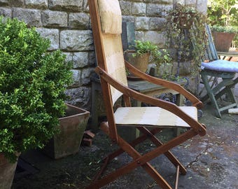 C1900 Campaign Chair, Turn of The Century Vintage Folding Chair, Folds Flat, Occasional Use, Conservatory, Garden Chair