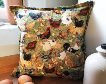 Vintage Cushion Cover with Chicken Design, Cotton Cushion Pillow Case Chickens, Country Chic, Rustic Style