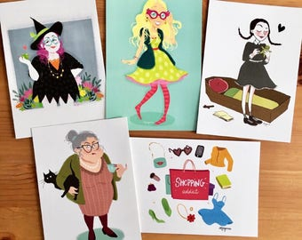 5 illustrated postcards set