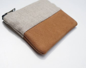 Brown Leather & Stone Linen Mini Pouch. Coin Purse / Wallet.
