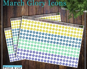 March Glory Icons, Print & cut, SVG, FCM, ScanNCut, Silhouette, Cricut, Happy planner