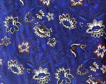 Folksy Floral Voile - Navy/Cream/Red-Orange - Apparel Fabric By the Yard