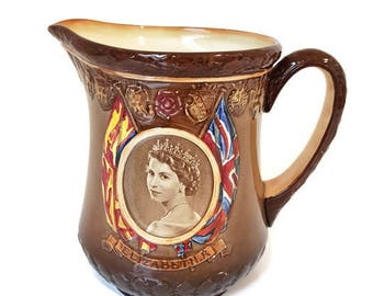 vintage Royal Doulton Queen Elizabeth II commemorative pitcher / Jug 1953, limited edition