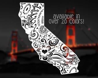 California Decal, California Mandala Decal, Cali Decals, Cali Love Decals, California Car Decals, Decals for Car Windows, Cali Decal