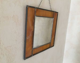Mid century stained glass mirror