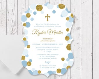 Boy Baptism Christening Invitations, Blue and Gold Sparkles Glitter, Large A5 Size Die Cut Scallop Shape, Professionally Printed