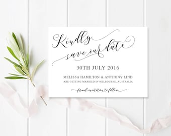 Wedding Save the Date Card, Free Colour Changes, Heavenly Script Free - Commercially Printed - Peach Perfect Australia