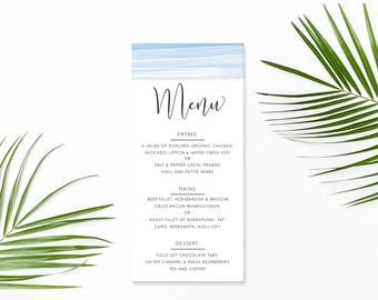 Wedding Menu, Custom Printable Menu, Blue Watercolour Wash, Free Colour Changes, DIY Wedding, Ocean Love Suite