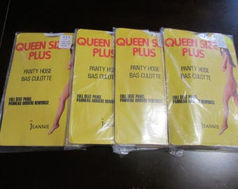 Vintage Queen SIze Plus Panty Hose By Jeannie 3XL 225Lbs And Over X 4 Beige