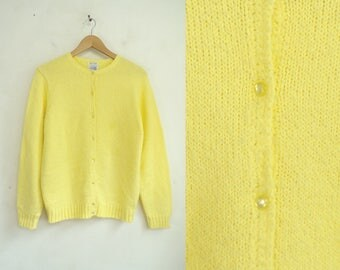 Yellow cardigan | Etsy
