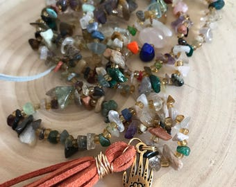 Mixed Gemstone Chip Tassel Gold Henna Hand Charm Necklace