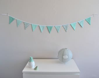 Bunting / wall decor / green and white