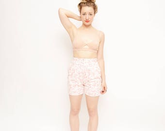 90s High Waisted Denim Shorts - Pink, Floral, White, Small, Jean