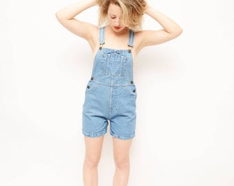 90s Jean Overalls - Shorts, My So Called Life, Denim, Summer, Camp, Short Overalls