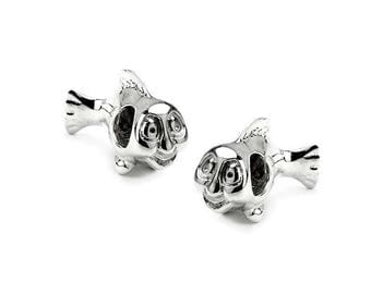 925 sterling silver bead big hole fish PS0270BK P0234