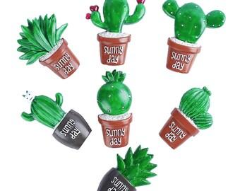7pcs Cute Succulent Cactus Resin Embellishmentst DIY Cabochon Craf Scrapbook Ornament(CTJZ21-PC-CT-)