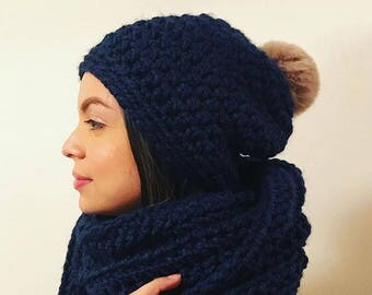 Crochet Adult Slouchy Beanie and Infinity Scarf Set
