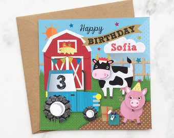 Kids Farm Birthday Card, On the Farm Birthday Card, Farm Animal Birthday Card, Pig Card, Cow Birthday Card, Chicken Birthday Card