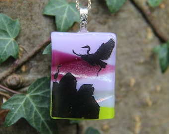 Lilac cranes landscape dichroic pendant ,  dichroic glass necklace,  fused glass necklace, fused glass pendant, multi-coloured dichroic