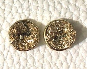 Gold oval Druzy Studs, 12mm druzy gold, gold earrings, druzy earrings, gold druzy, druzy jewelry, gold jewelry, stud earrings, gold round