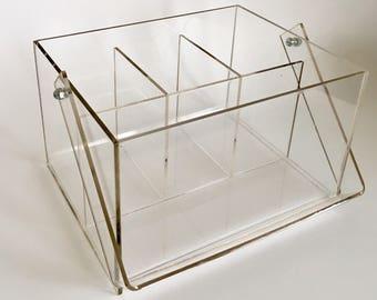 Vintage Mid Century Modern Clear Lucite Acrylic Desk Organizer Caddy. Office  Storage.